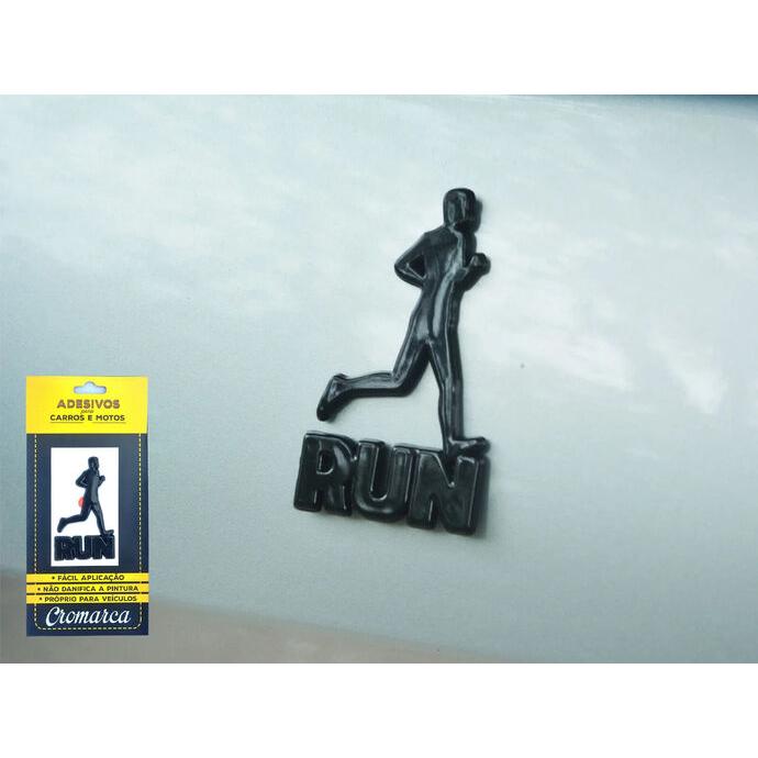 imagem do produto Adesivo Cromado em Auto Relevo Run Man Corredor - Cromarca