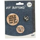 imagem do produto  Cartela com Kit de 3 Bottons de Enfeite Diversos Frase Life Is Better When You Have Fun - Uatt?